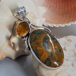 Natural Picasso Jasper Silver Pendant Necklace